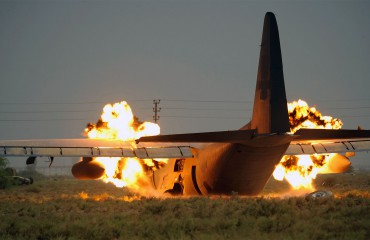 C-130 controlled explosion after crashing in Iraq